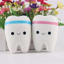 1pcs 10.5CM Upscale Jumbo Squishy Cute Adorable Teeth Soft Slow Rising Jumbo Squeeze Cell Phone Strap Pendant Toy Random Color