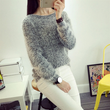 2017 spring new feather yarn sweater women spring round round collar sets of solid color horse haired sweater ladies(China)