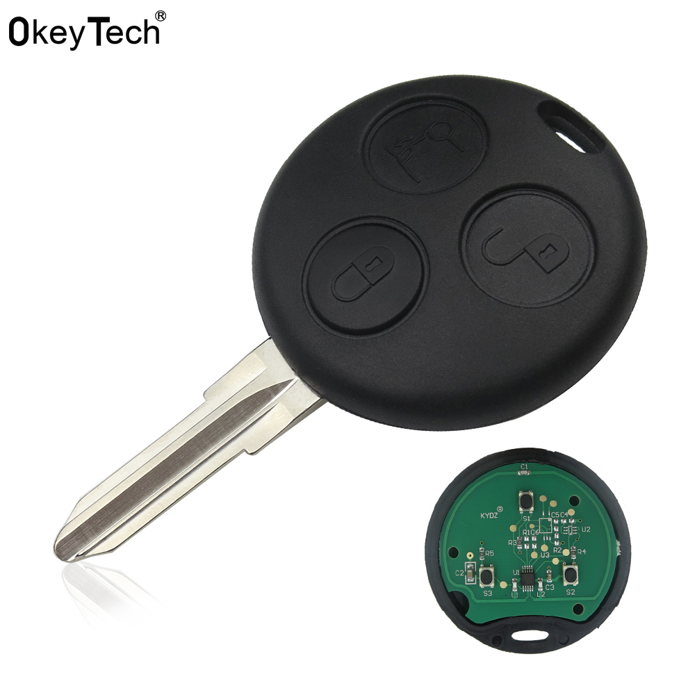 Okeytech 3 Button Remote Car Key Mercedes Benz Key Smart Fortwo 450 Forfour Roadster Chiave 433MHz Remote Auto Key Fob Blade