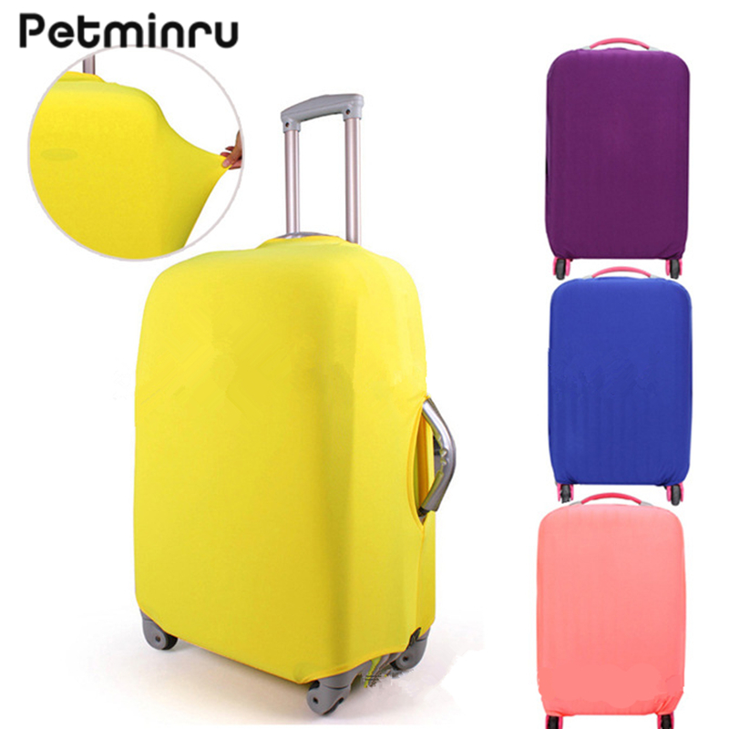 Petminru Candy Color Travel Luggage Cover For 18-30 inch Suitcase Dustproof Trolley Case Elastic Suitcases Protective Covers(China)