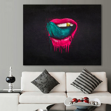 HDARTISAN Wall Art Pictures For Living Room The Red Lips Painting Canvas Oil Painting No Frame Modern Pop Art Home Decor(China)