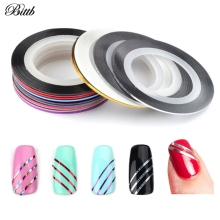 Bittb 30PCS Beauty Mixed Nail Rolls Striping Line Nails Art Tips Decoration Fingernail Uv Gel Polish Nail Stickers Decals Tools(China)