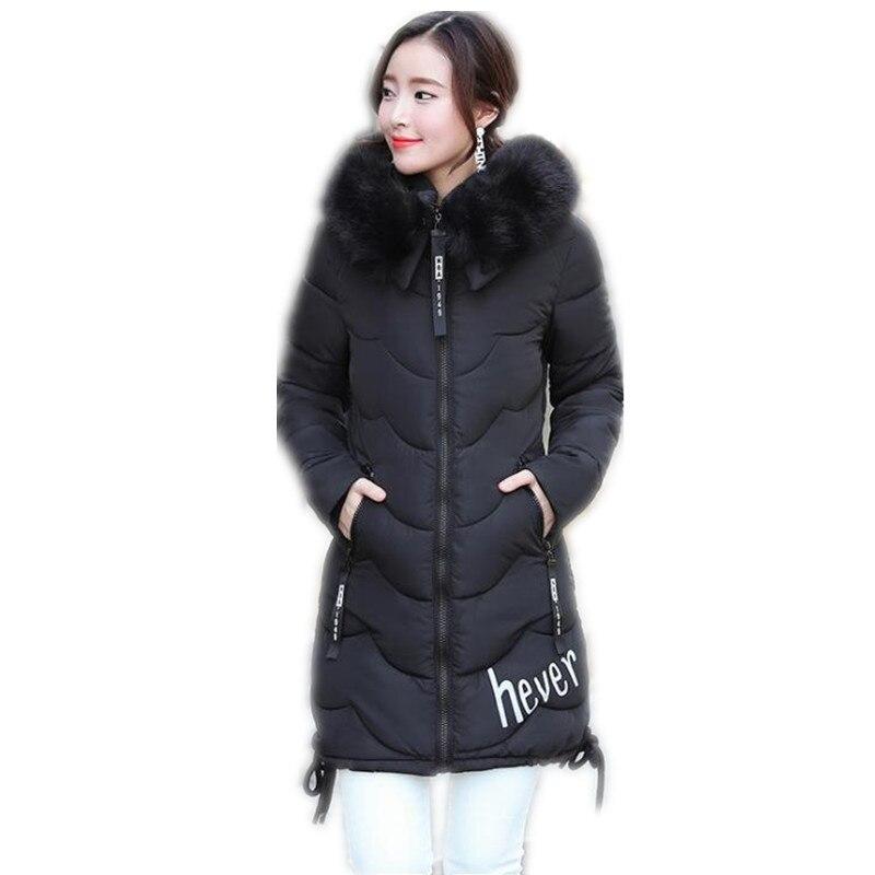 Fashion 2017 Winter Women Down Cotton Medium-Long Jacket Parka Female Hooded Fur Collar Slim Bow Outerwear Cotton Warm CoatCQ594Îäåæäà è àêñåññóàðû<br><br>
