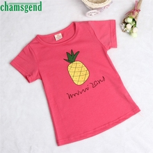 CHAMSGEND T-Shirt Fashion Summer Children Kids Girls Boys Pineapple Fruit Pattern Clothing Best seller drop ship S45(China)
