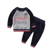 2018 new style children sports suit velvet casual boys girls child set o-neck long-sleeve 2pcs blouse pants outfits baby clothes(China)