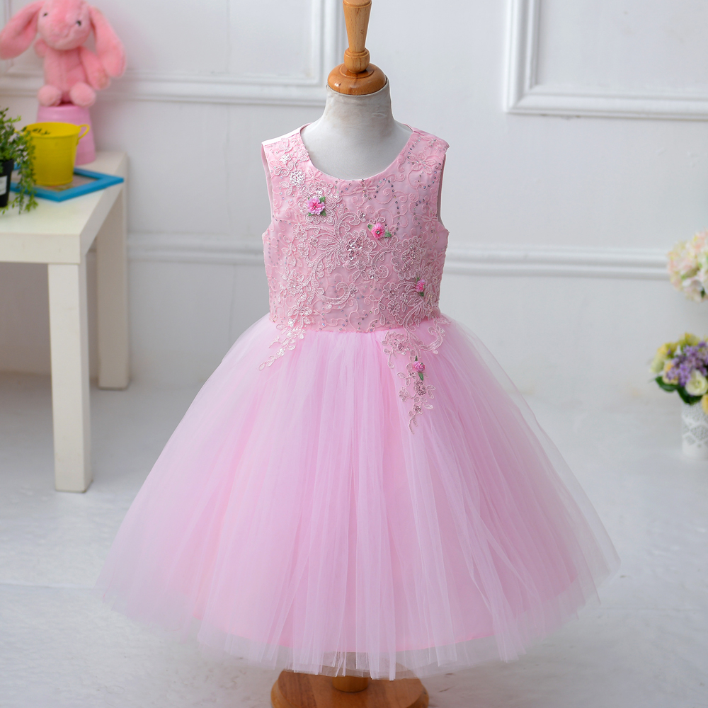 Retail New Embroidery Floral Kid girl Wedding dress ball gown dress flower girl dress for Children  T195<br><br>Aliexpress