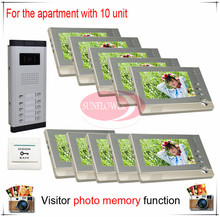 Ten / 10 Units Apartment Building Color Video Door Phone Intercom Visitor Photo Memory ( Also support SD card photo storage)