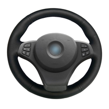 Black Leather Hand-stitched Car Steering Wheel Cover for BMW E83 X3 2003-2010 E53 X5 2004-2006