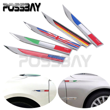 Car Styling Germany Italy England France US National Flag Fender Side Decoration Sticker Metal Emblem Badge Decal Sticker 1 Pair