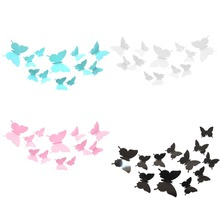 12 Pcs/Lot Butterflies 3D Wall Stickers Art DIY Home Decorations PVC Removable Decors Wedding Decorations Wall Decals Sticker(China)