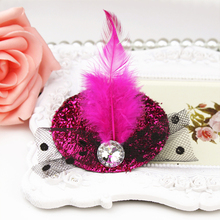New Party Feather Ribbon Flowers Hats Hairgrips Hair Accessories Kids Girl Children Baby Hair Barrettes Festival Hat Hair Clips