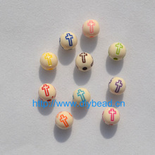 100 pcs DIY Mix Color Painting Cross Beads 8MM Round Shape Retro Bracelet Accessories Acrylic Beads Jewelry Making Department
