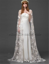 2016 New Ivory or White Lace Long Women's Wedding Bridal Shawl Coat S M L XL XXL XXXL