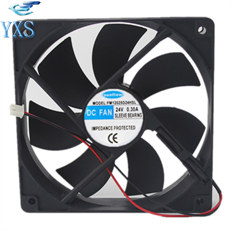 FM12025D24HSL DC 24V 0.3A 12025 12CM 120*120*25mm 2 Wires Mute Chassis Cooling Fan<br>