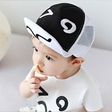 Cartoon Mesh Hats for Baby Cute Black and White Ears Design Baby Cap Newborn Dad Mon boy cap Photography Props 46-50cm HT52048