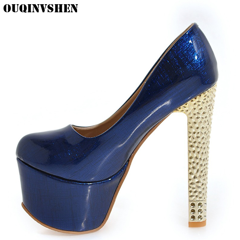 OUQINVSHEN Solid Color Stiletto Heel High Heels Women Pumps New Thin Heels Ladies Platform Pumps Large size Extreme High Heels<br>