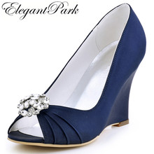 EP2009AM Women Wedges Wedding Bridal Shoes High Heels Navy Blue Peep toe Comfort Satin Lady Bride Evening Party Pumps Green