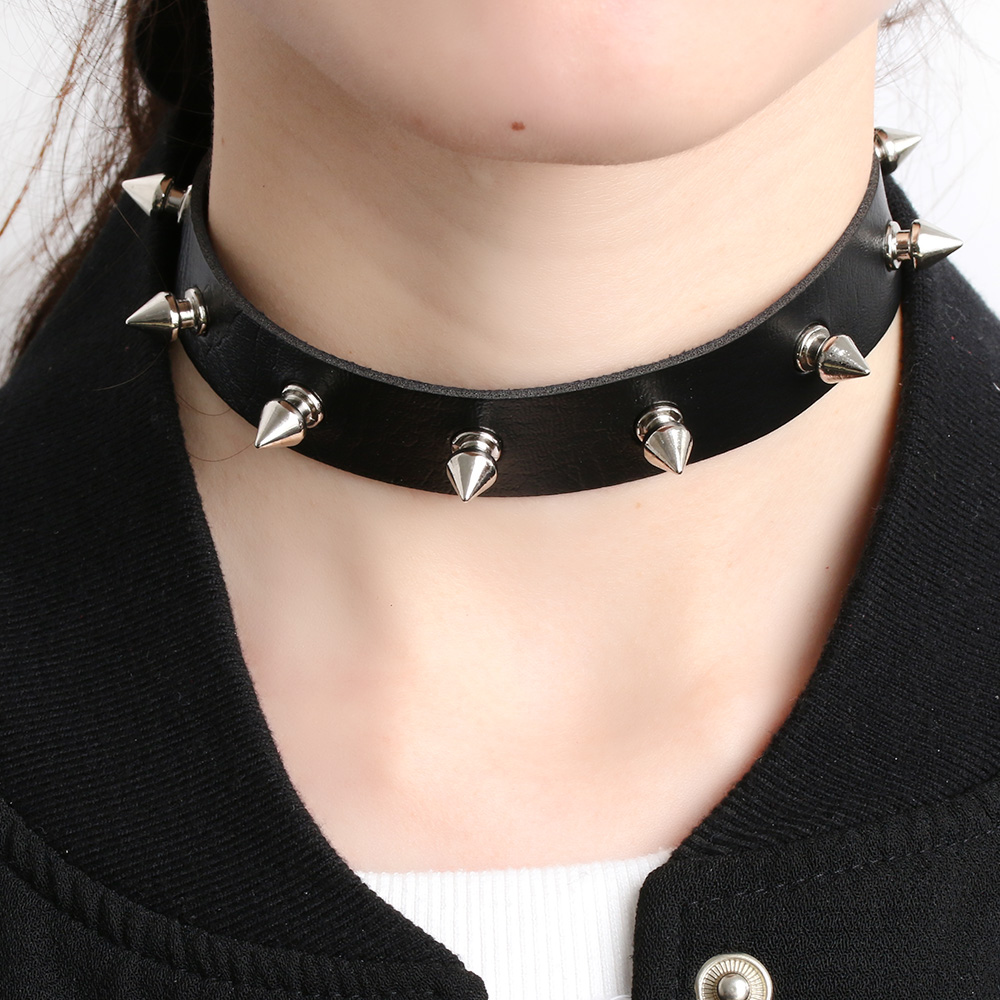 Neck Collar Leather Studded Faux Collar Choker Necklace Unisex Slave Necklace