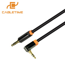 Cabletime 3.5mm Aux Cable 90 Degree Right Angle Flat Jack Male to Male Stereo Audio Cable Adapter For Car Headphone Speaker N071