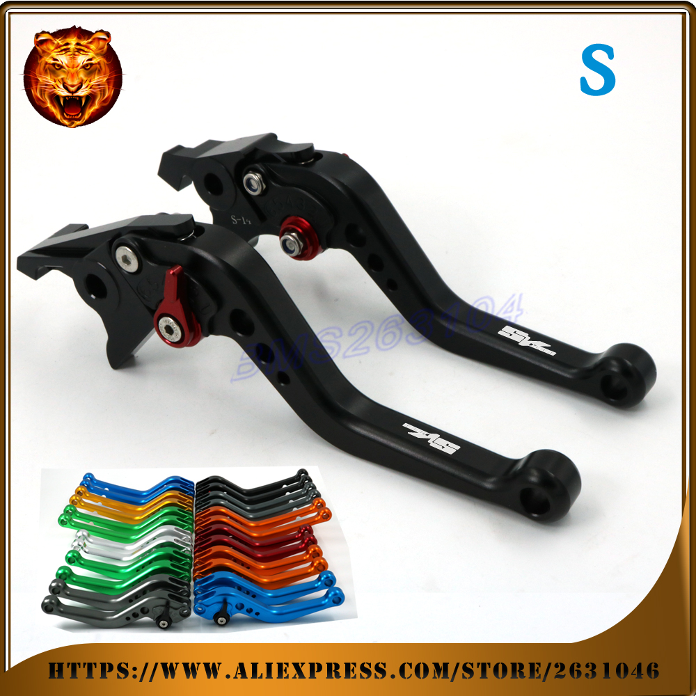 Adjustable Long Short Brake Clutch Levers For SUZUKI SV1000 SV1000S 03 04 05 06 07 CNC LOGO free shipping RED blue Motorcycle<br>
