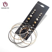 Danze Promotion 9 Pairs/lot Gold Color Metal Ball Crystal Mixed Stud Earrings Set For Women Female Jewelry Wholesale Price