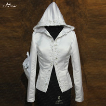 RSJ98 Beaded Lace Appliques Long Sleeves Bridal Winter Hooded Cape(China)