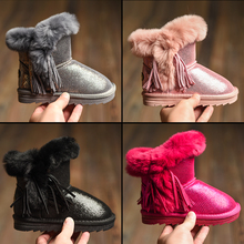2016 winter new children snow boots with tassel kids leather boots warm shoes with fur princess baby girls ankle boots