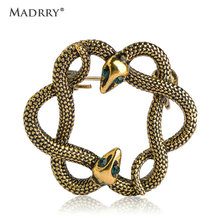 Madrry Antique Gold Color Double Snake Brooches For Women Men Green Crystal Alloy Brooch Pins Hijab Pin Dress Scarf Accessories