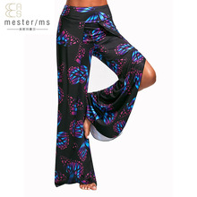 Buy summer pants printing butterfly women pants Sexy side split wide leg pants Boho beach long Elastic high waist casual harem pants for $22.88 in AliExpress store