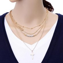 Tomtosh Fashion Jewelry Women cross Necklaces Multilayer Long Pendants bead Necklace 4 Layer Charm Bar statement Necklace