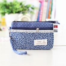 Linen floral printing women's coin purses female change wallet bag ladies handbag paper organizer phone pouch carteira for girls(China)
