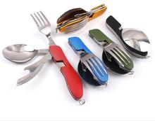 New Outdoor Camping Combination Knife and Fork Spoon Stainless Steel Tableware Picnic Foldable And Detachable Spork