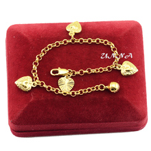 Kids Babies Girls Jewelry  Yellow Gold Color Three Heart Charms Rolo Chains Bracelets
