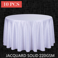 10PCS Decor Poly Jacquard Table Cloth Round Wedding Hotel Tablecloth Dining Square Table Linen White Red Table Cover Wholesale(China)