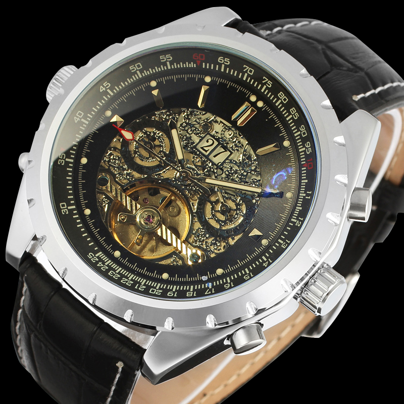 Forsining  Automatic Self-wind Dress Men Watch with Analog Display Black Color Dial<br>