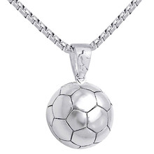 Football Pendant Necklace Men Soccer Ball Stainless Steel Chain Sport Hippie Power Necklace UEFA Sports Men Hip Hop Jewelry