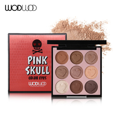 Wodwod Brand Pink Skull Color Eyes Makeup 9 Colours Eyeshadow Palette Heart-shaped Matte Eye Shadow Shimmer Pigments Natural