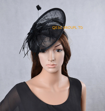 NEW Black Sinamay fascinator hat Derby hat with feather flower for kentucky derby wedding party.
