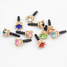 400pcs/lot Colorful Crystal Elegant Crown Shape For Iphone For Samsung And For All 3.5MM Universal Earphone Anti Dust  Plug