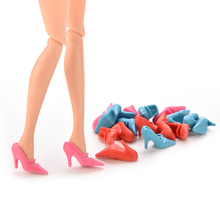 New 10 Pair Doll Shoes Pumps Colorful High Heels For Barbie Doll Shoes Accessories Lovely Baby Girls Gifts Wholesale