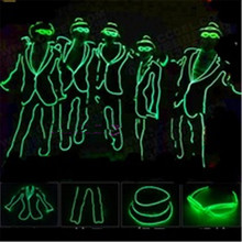 LED Light Costume Robot Suit Luminous Clothing EL Wire Glowing Light Up Dance Wear With Glasses And Cap MJ Style For party Show(China)