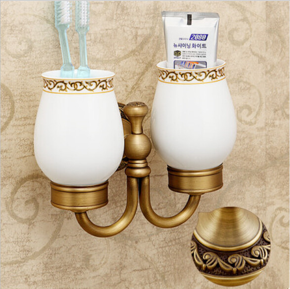 Bathroom Brass antique porcelain Double tumbler cup holder toothbrush holder bathroom accessory sanitary ware bathroom furniture<br><br>Aliexpress