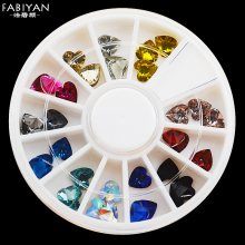 12 Color 3D Acrylic Heart Shape Crystal Rhinestone Facet Glitter Gem Nail Art Polish Tips Decoration Wheel Manicure Jewelry Tool