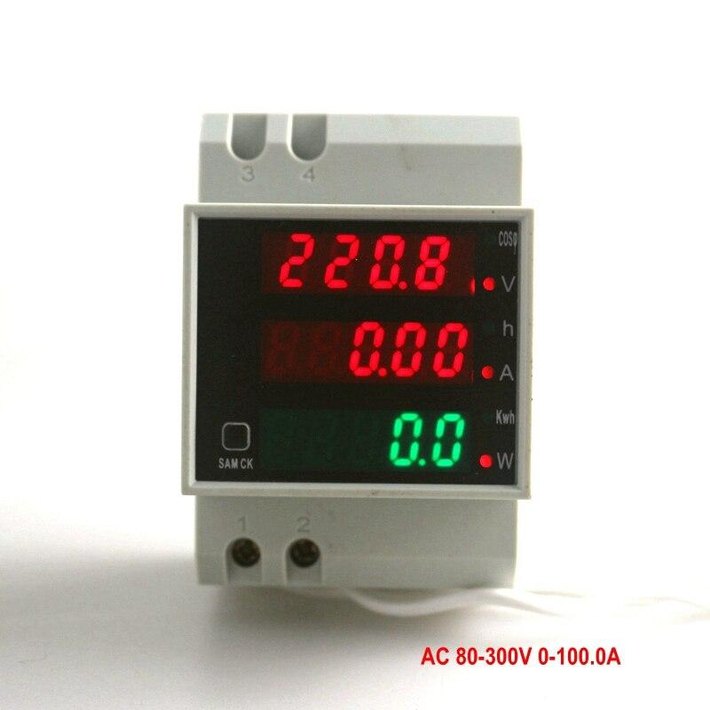 AC 80-300V 0-100.0A Din Rail LED Voltmeter Ammeter Red Blue Display Active Power Factor Energy meter Voltage Volt Current Meter<br><br>Aliexpress