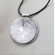 Vintage Round Alloy Single Pendant Necklace For Women Brief Big Pendant Leather Necklace Fashion Jeweley Femme Bijous Silver OX(China)