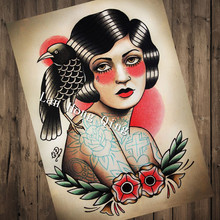 Vintage Tattoos design woman Patterned Posters Kraft paper Interior Painting Restoring wall decoration Barber shop Home Decor(China)