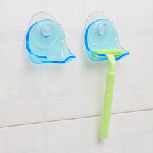 1PCS Blue Plastic Suction Cup Razor Rack Razor Holder Shaver Storage Rack Accessories For Bathroom Sucker Hook Hooks On Suckers(China)