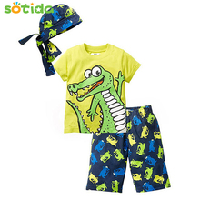 2018 New Active boys sets boy shorts Cartoon suits summer short sleeve T-shirt + plaid pants + hat 3 pieces boys clothing set(China)