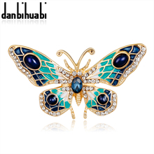 danbihuabi Metal Badges Brooches pin  for Women Rhinestone Pins and Brooches Women's Animal Brooch Butterfly Female