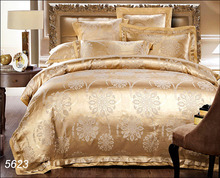 Golden camel beige 4pcs silk bedding set king queen floral bed set jacquard bed linens zipper quilt/blanket cover bedsheet 5623